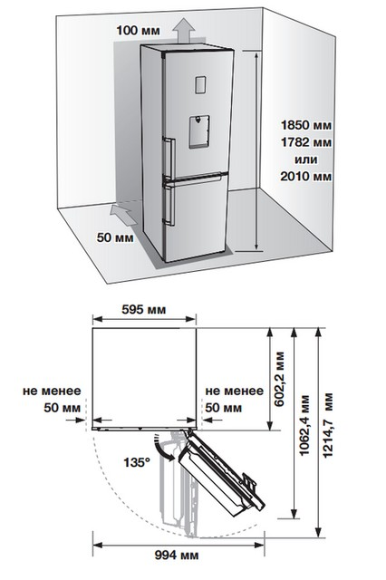 Пример схемы установки холодильника из прилагаемой к модели инструкции по эксплуатации. Игнорировать такие требования – недопустимо!