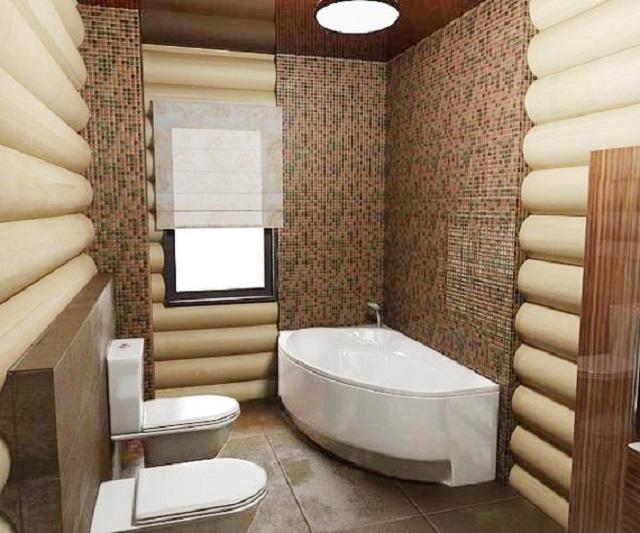 Отделка ванной комнаты в деревянном доме мозаичной плиткой и краской на водной основе.
