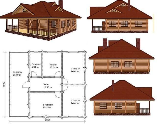 План деревянного частного дома с обустроенным санитарным узлом.