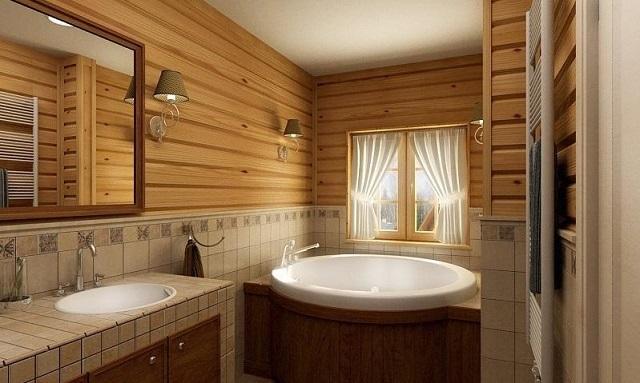 Ванная комната с комбинированной отделкой из разных материалов.