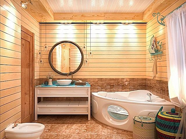 В небольшом помещении место хорошо экономится за счет установки угловой ванны