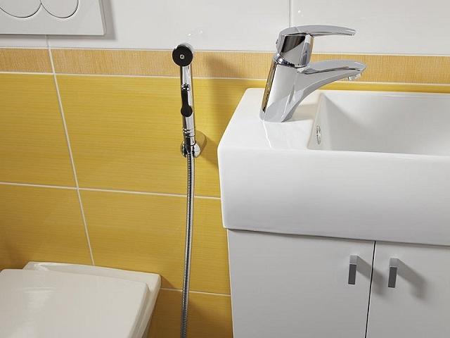 Гигиенический душ, скомбинированный со смесителем умывальника.