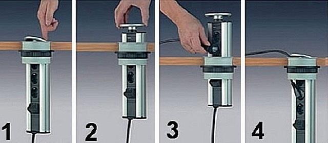 Последовательность действий при подключении электроприбора к выдвижному розеточному модулю.