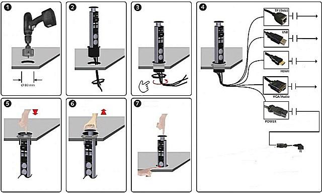 Схема монтажа и эксплуатации выдвижного блока.