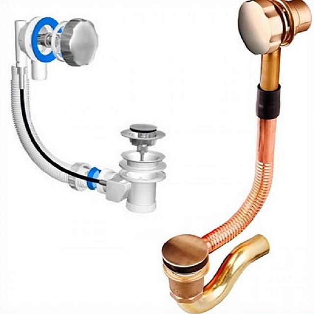 Устройство для слива воды из ванны может быть изготовлено из разных материалов. От этого фактора напрямую зависит и его стоимость.