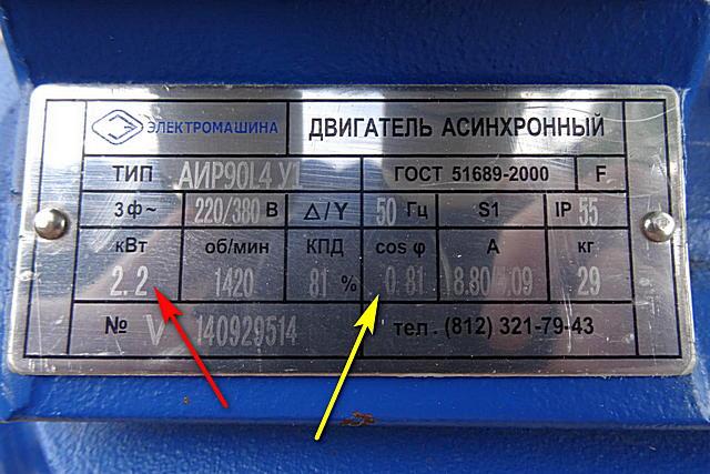 Значения номинальной мощности и cos φ на шильдике асинхронного двигателя
