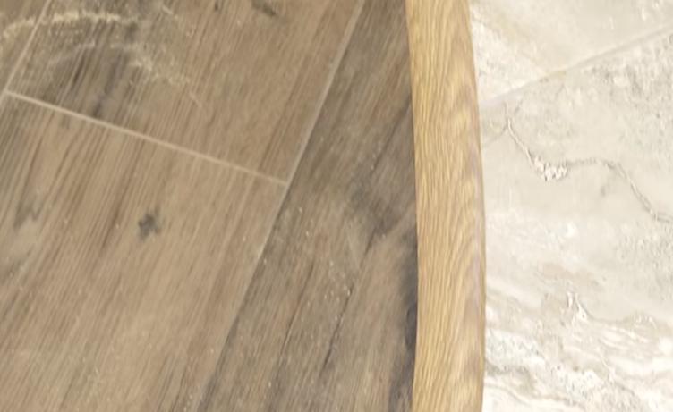 Оформление стыка двух разных напольных покрытий