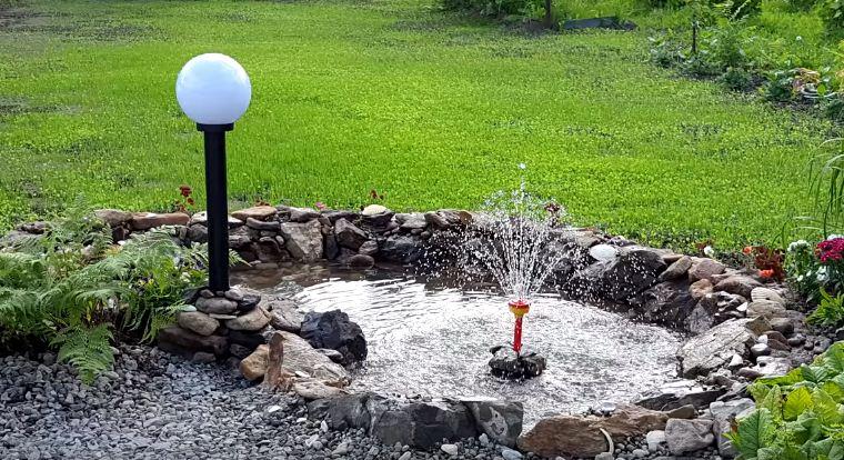 Готовый водоем с фонтаном