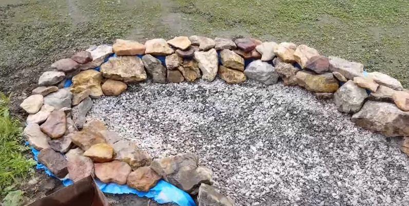 Пленка не должна виднеться из-под камней