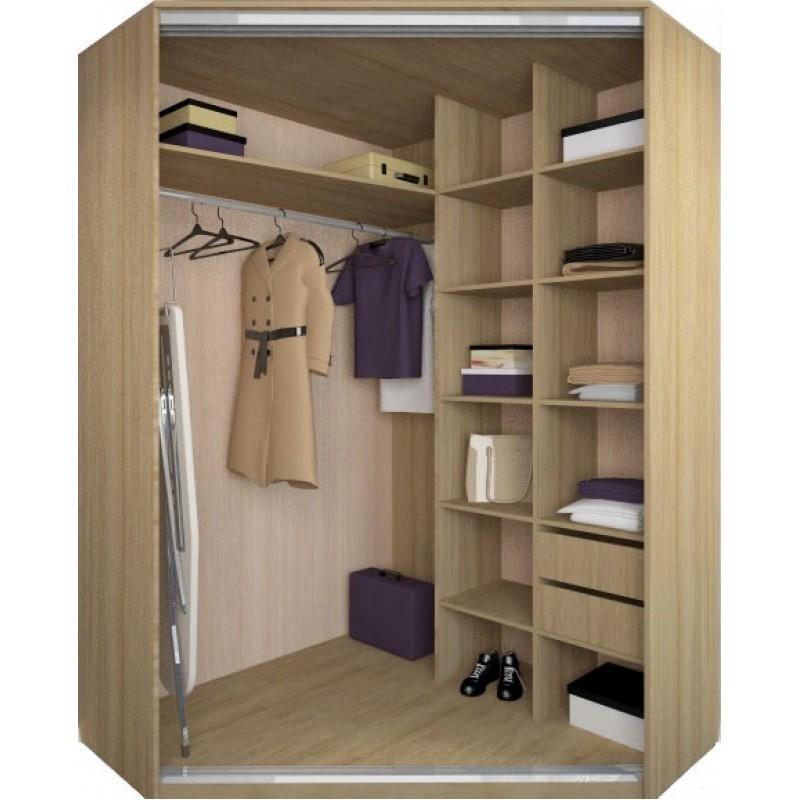 Внутри углового шкафа в можете хранить гладильную доску или пылесос
