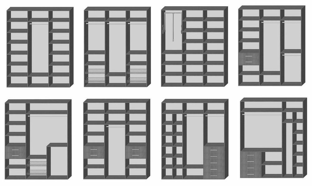 Примеры наполнения з-секционных шкафов