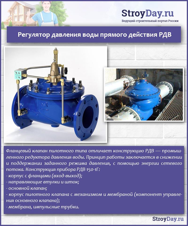 Регулятор давления воды прямого действия РДВ