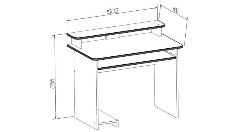 Схематичный вид компьютерного стола