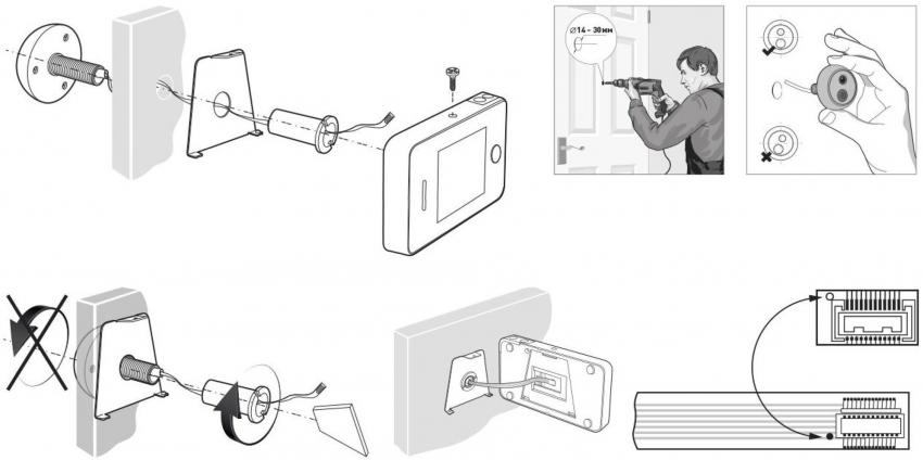 Схема самостоятельного монтажа видеоглазка на входную дверь
