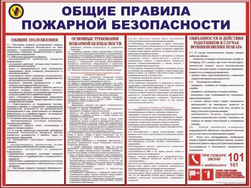 Таблица правил безопасности при обращении с огнем