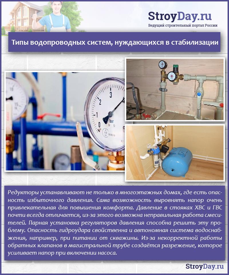 Типы водопроводных систем, нуждающихся в стабилизации
