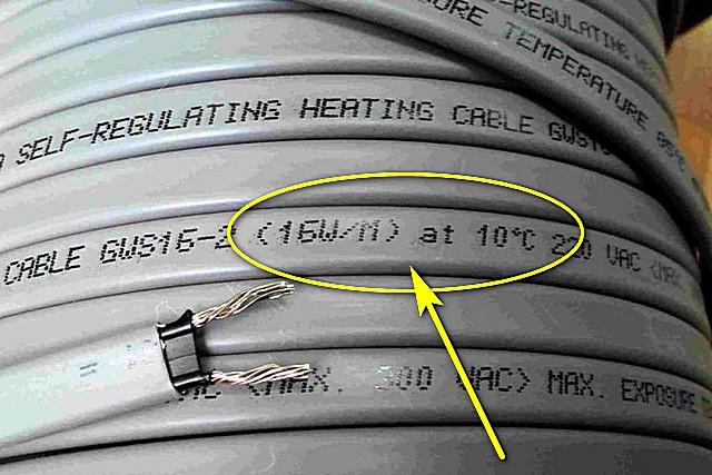 Надпись однозначно дает понять, что при температуре окружающей среды в 10 градусов удельная мощность кабеля составит 16 Вт на погонный метр.
