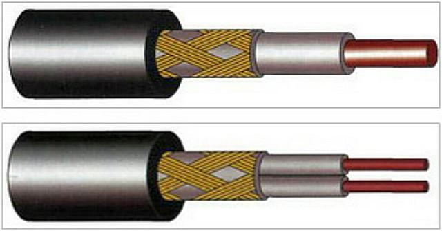Одножильный и двужильный нагревательные кабели. В обязательном порядке предусматривается заземляющий экран.