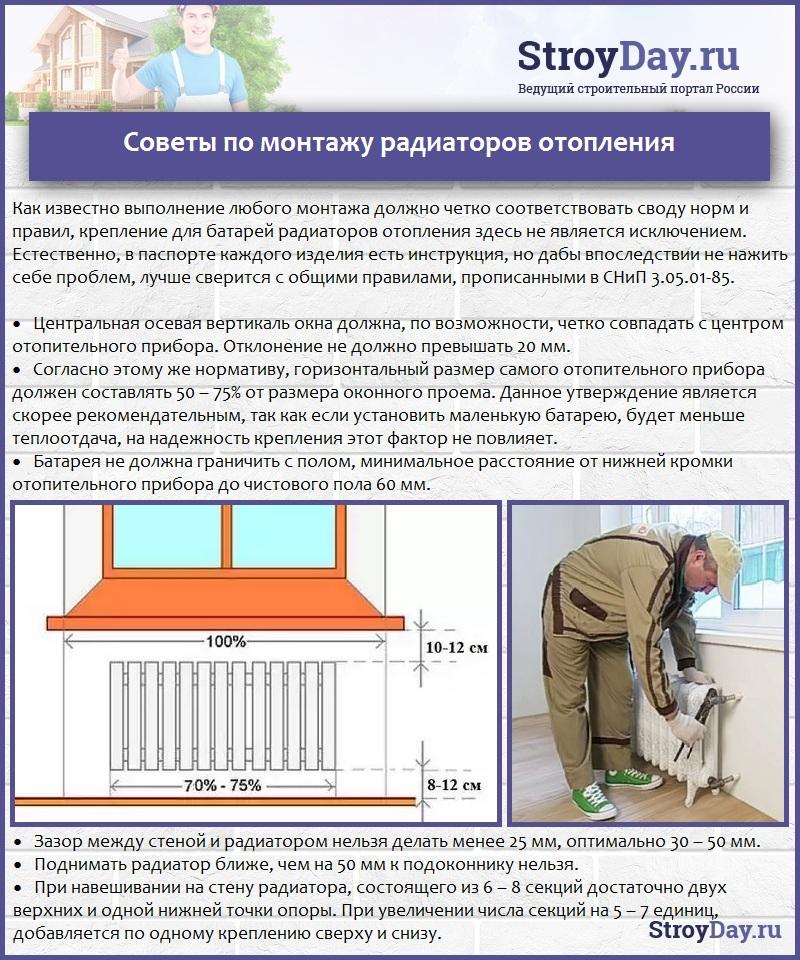 Советы по монтажу радиаторов отопления