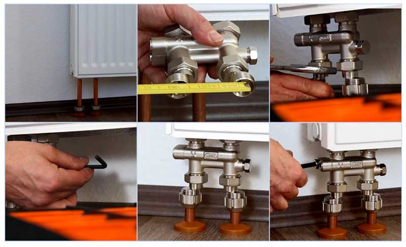 Монтаж узла нижнего подключения радиатора