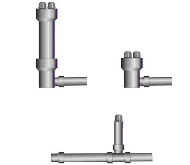 Варианты врезки клапанов на различных участках труб