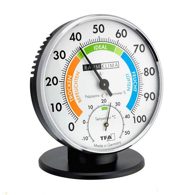 Одна из моделей компактного пленочного гигрометра, совмещённого с термометром. Обратите внимание на выделенные зеленые «сектора комфорта» как по температуре, так и по относительной влажности.