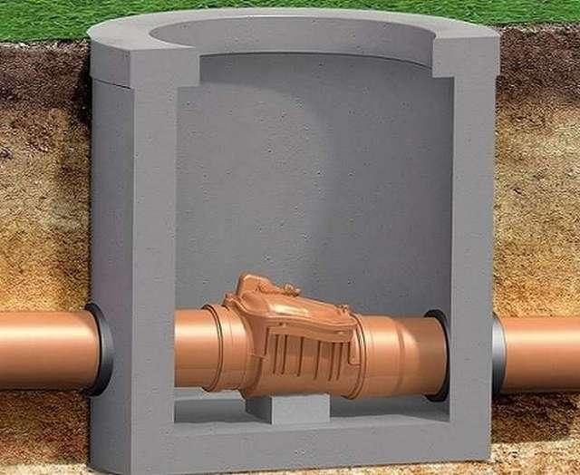 Обратный клапан на канализационной трубе – для него предусмотрен отдельный колодец.