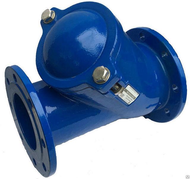 На иллюстрации – шаровой обратный клапан в металлическом корпусе с фланцевым соединением.