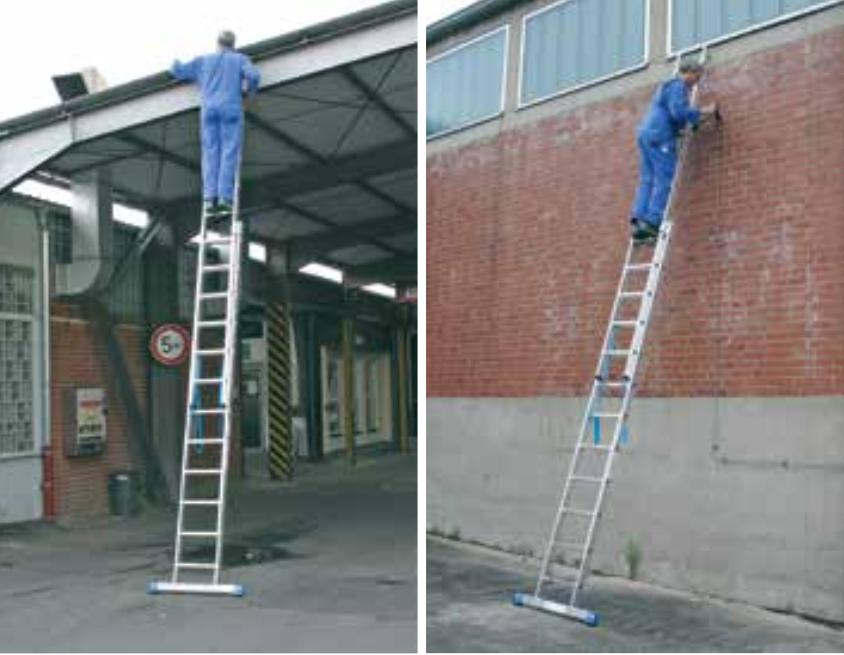 Двухсекционная алюминиевая лестница, может применяться в качестве стремянки и приставной / раздвижной лестницы для профессионального применения