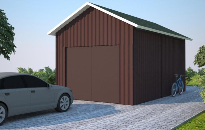 Гараж из ЛСТК с двускатной крышей