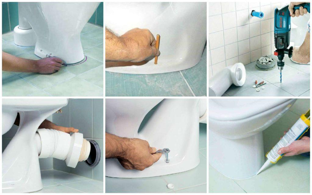 Как фиксировать унитаз с помощью дюбелей