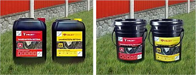 Компоненты используются одни и те же – разница лишь в объемах. Слева – две канисты комплекта «HILST Professional», справа – два ведра «HILST Expert».