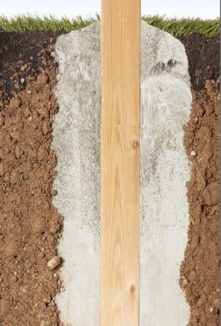 На этой иллюстрации показано, как плотная пена заполняет все пустоты и обходит все выступы, имеющиеся на стенках котлована.