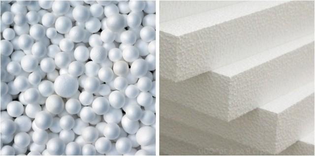 Вспененные гранулы полистирола и утеплительные плиты, получаемые в результате их прессовки.