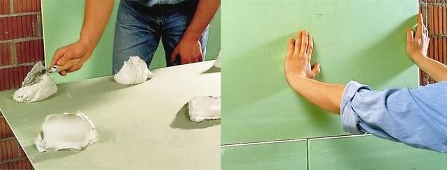 Закрепление гипсокартона на стену на клей