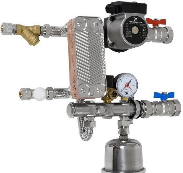 Любой отделенный от основного контур, получающий тепло через теплообменник, должен иметь свой собственный предохранительный клапан.