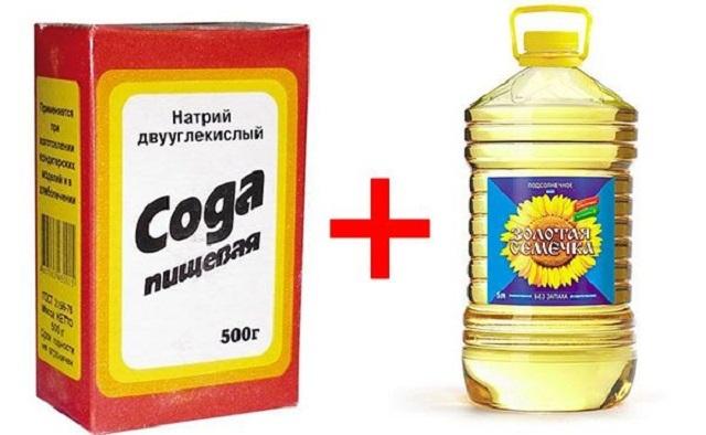 Соду и растительное масло используют для разных нужд, в том числе и для очистки с кожи монтажной пены.