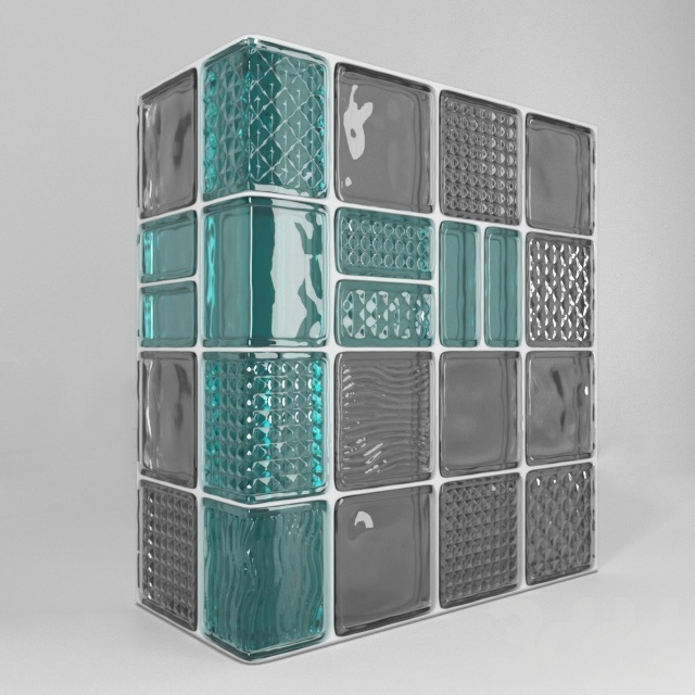 Пример использования угловых стеклоблоков и блоков-половинок