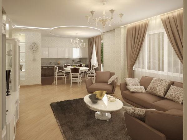 Если площадь гостиной позволяет, стоит выделить столовую зону