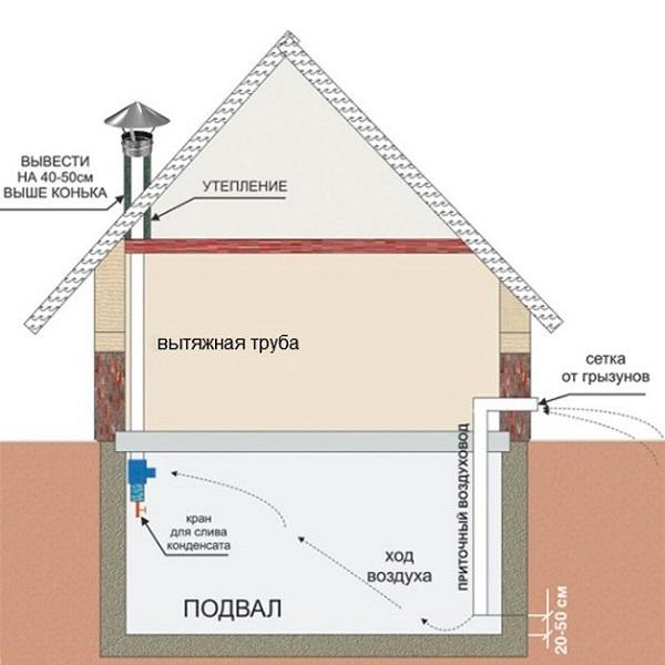 Один из эффективных вариантов системы вентиляции для подвальных помещений