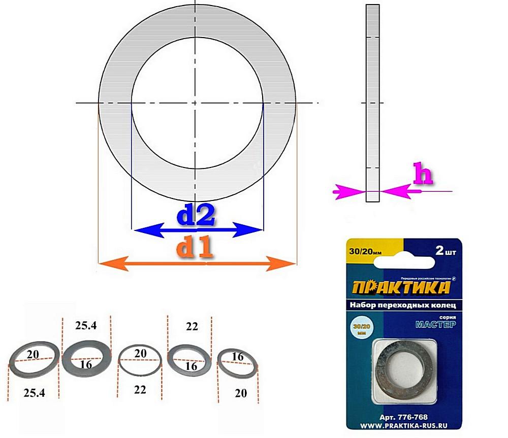 Некоторую «вольность» с приобретением пильных дисков позволяют внутренние, посадочные диаметры, с условием обязательного использования специальных переходных шайб. Очень важно обращать при этом внимание и на толщину шайбы (выделена малиновым цветом – h).