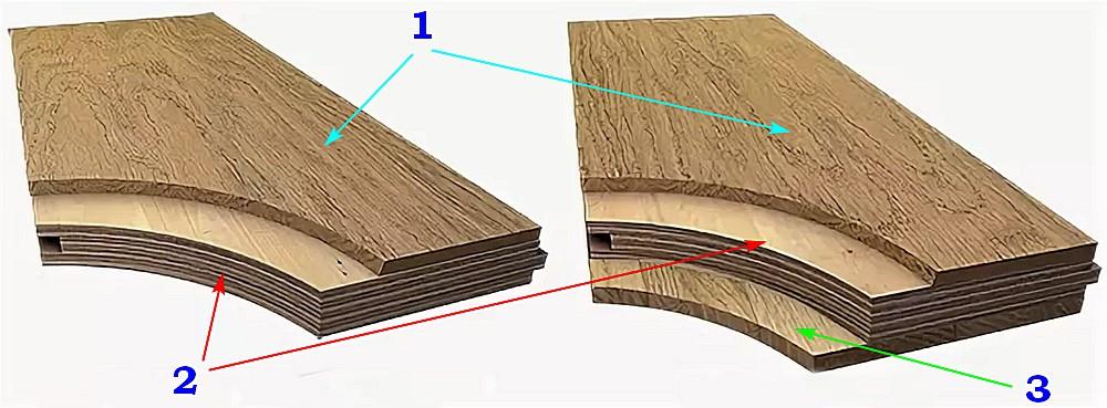 Инженерная доска — двух- (слева) и трехслойная