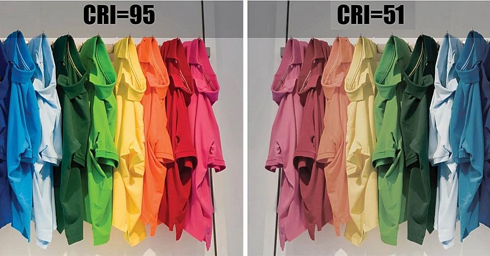 Вот такой может быть разница в визуальном восприятии цвета при разных индексах цветопередачи.