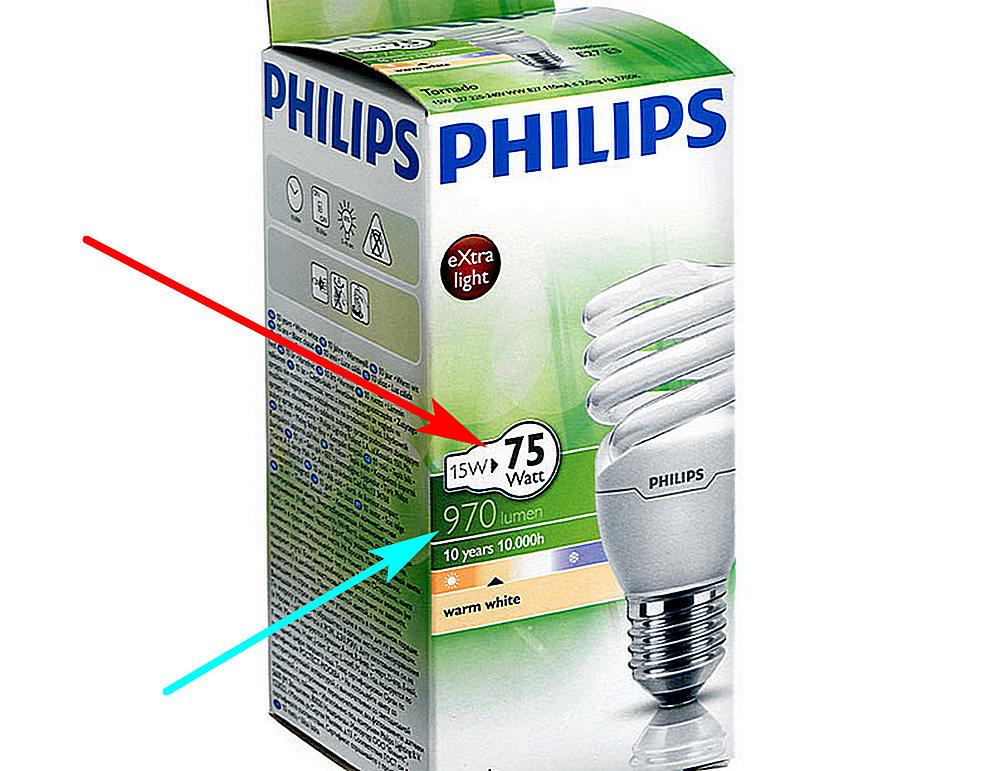 С появлением новых ламп производители стали указывать на их упаковках реальную потребляемую мощность модели, и проводить аналогию с мощностью лампы накаливания такого же уровня свечения.