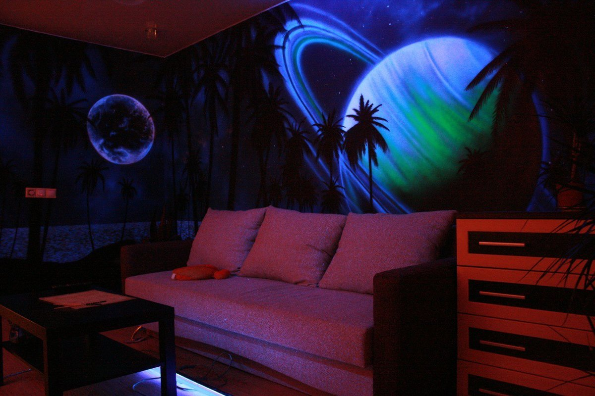 светящиеся рисунки на стене фото тем как