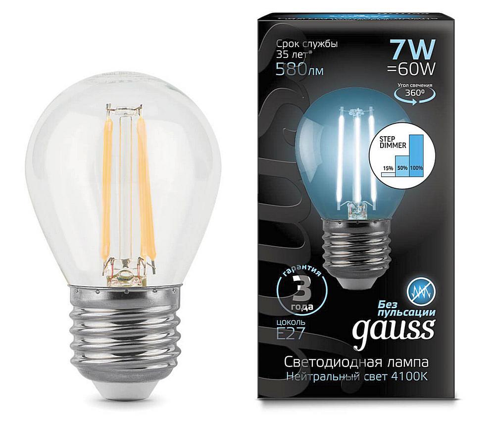 Оригинальная филаментная светодиодная лампа «GAUSS» с возможностью ступенчатого диммирования.