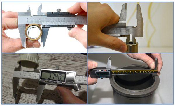 Измерение диаметра трубы штангенциркулем