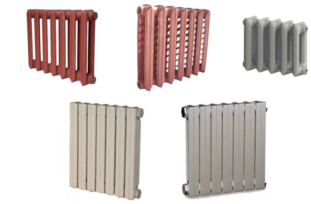 В верхнем ряду – более знакомые нам всем чугунные радиаторы МС. Внизу – пример более современных батарей серии ЧМ2.