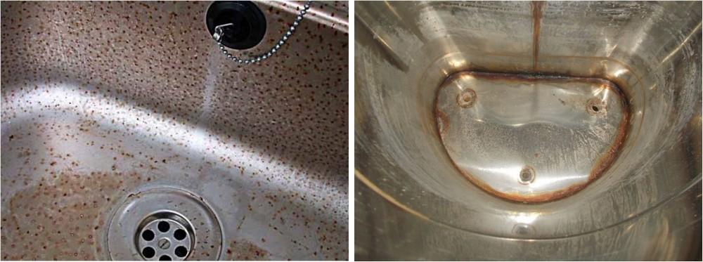 Примеры коррозии изделий из нержавеющей стали: слева – питтиновое поражение поверхности, справа – ржавчина активно взялась за сварные швы.