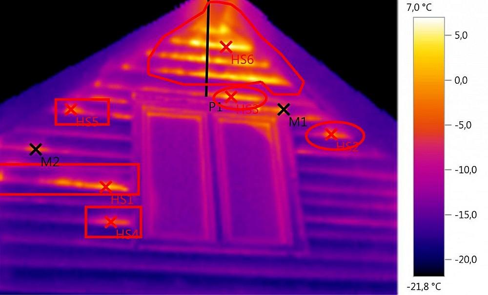 Тепловизорное обследование помогает отыскать бреши в термоизоляции – хорошо заметно, что через такие участки тепло буквально пышет на улицу.